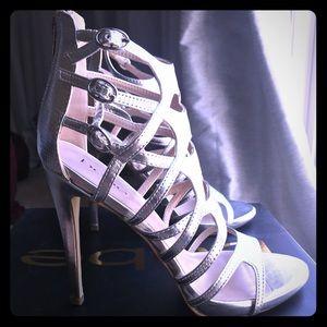 Bebe Juanita silver stilettos size 9